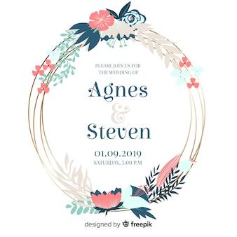 Convite de casamento floral frame em design plano