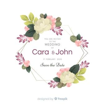 Convite de casamento floral frame