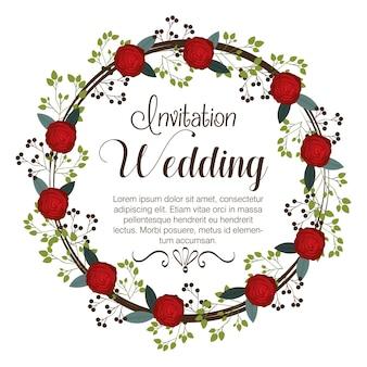 Convite de casamento floral isolado ícone design