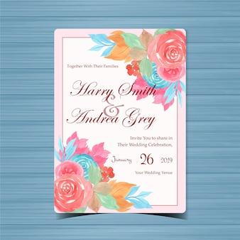 Convite de casamento floral lindo com flores coloridas