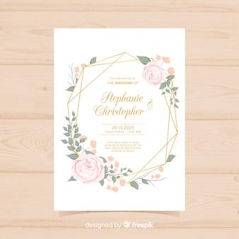 Convite de casamento floral lindo com linhas douradas