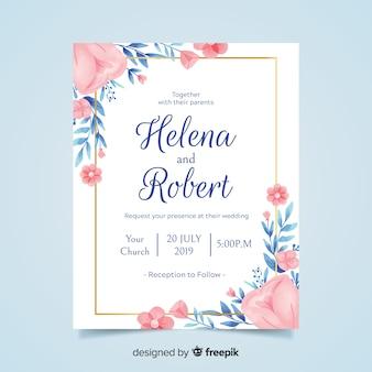 Convite de casamento floral lindo com moldura dourada