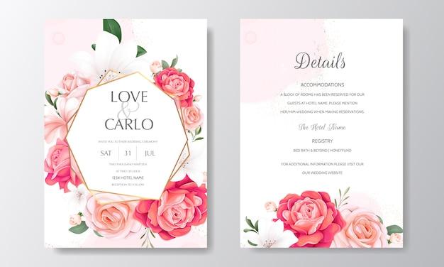Convite de casamento floral lindo com rosas florescendo e folhas verdes