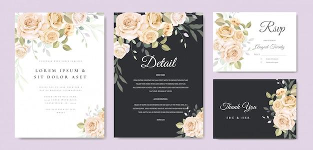 Convite de casamento floral lindo quadro