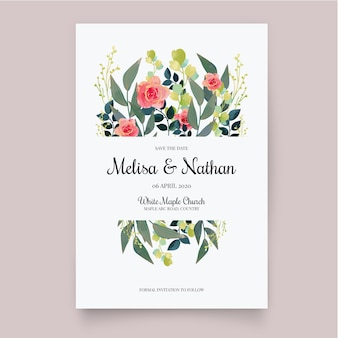 Convite de casamento floral modelo