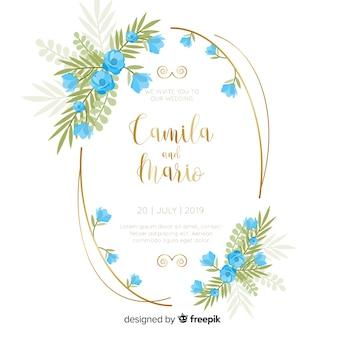 Convite de casamento floral moldura azul