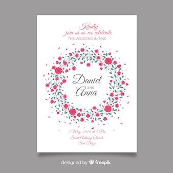 Convite de casamento floral moldura colorida
