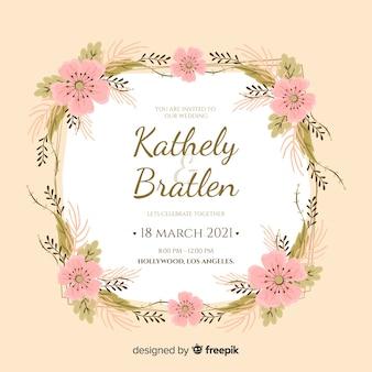 Convite de casamento floral moldura rosa em design plano