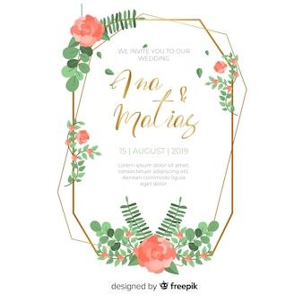 Convite de casamento floral moldura vermelha