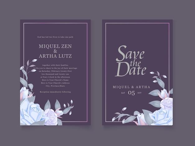 Convite de casamento floral na cor azul