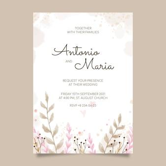 Convite de casamento floral pintado à mão
