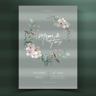 Convite de casamento floral plano orgânico