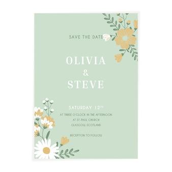 Convite de casamento floral plano