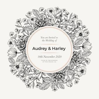Convite de casamento floral realista mão desenhada