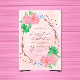 Convite de casamento floral rosa com lindas flores cor de rosa