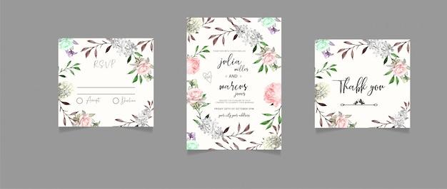 Convite de casamento floral, rsvp e cartão de agradecimento
