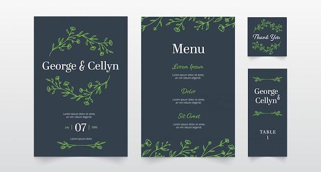 Convite de casamento floral simples mão desenhada