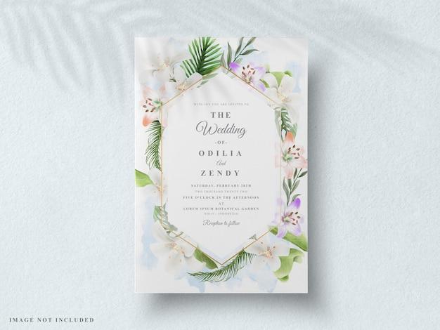 Convite de casamento floral tropical