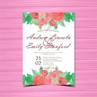 Convite de casamento floral vermelho com lindas flores