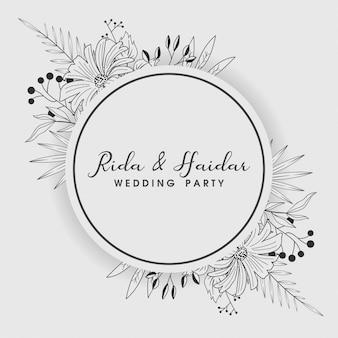 Convite de casamento floral vintage mão desenhada