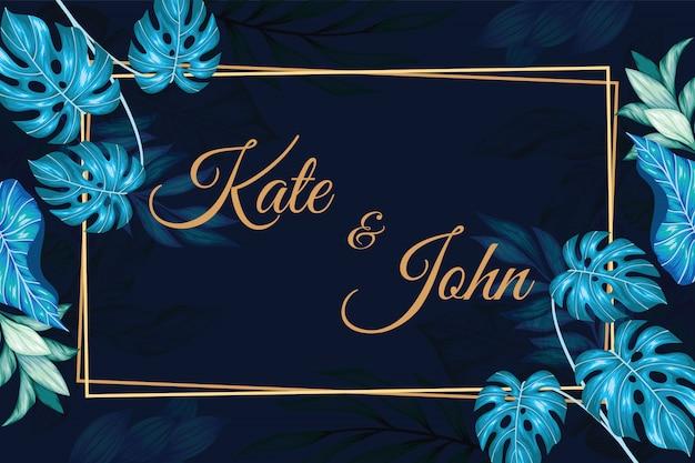Convite de casamento floral vintage retângulo