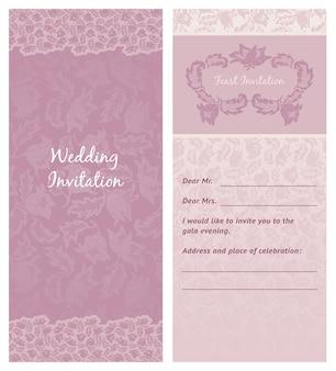 Convite de casamento, flores-ornamento