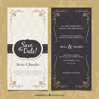 Convite de casamento frente e verso em estilo vintage