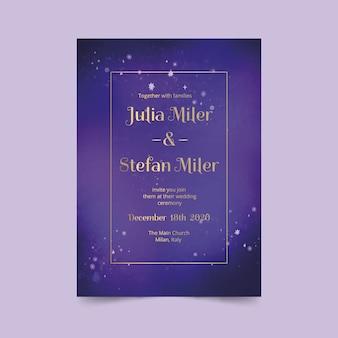 Convite de casamento galáxia aquarela