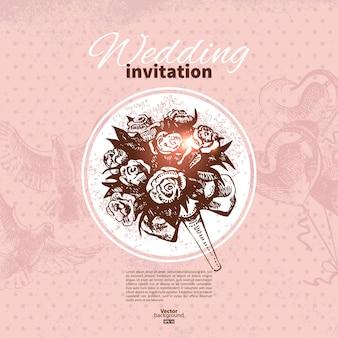 Convite de casamento. ilustração desenhada à mão