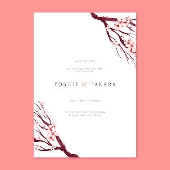 Convite de casamento japonês com filial de sakura