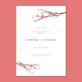 Convite de casamento japonês com flores de sakura