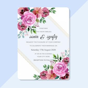 Convite de casamento lindo com aquarela floral