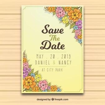 Convite de casamento lindo com flores desenhadas à mão