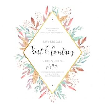 Convite de casamento lindo com folhas de aquarela