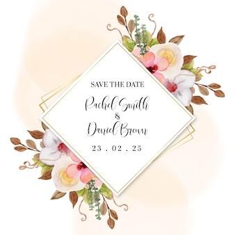 Convite de casamento lindo com moldura floral colorida