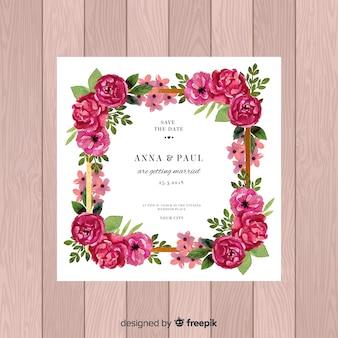 Convite de casamento lindo com rosas em aquarela