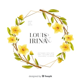 Convite de casamento lindo quadro floral aquarela