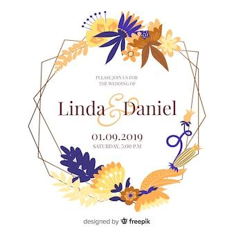 Convite de casamento lindo quadro floral em design plano