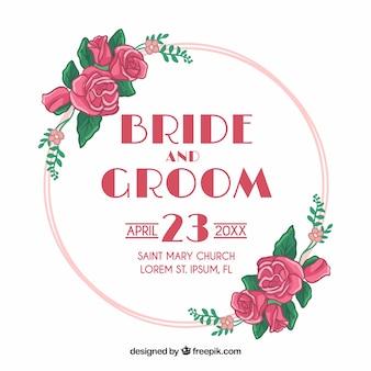 Convite de casamento lindo quadro pintado à mão floral