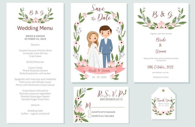 Convite de casamento, menu, rsvp, etiqueta de agradecimento salvar o cartão de data design