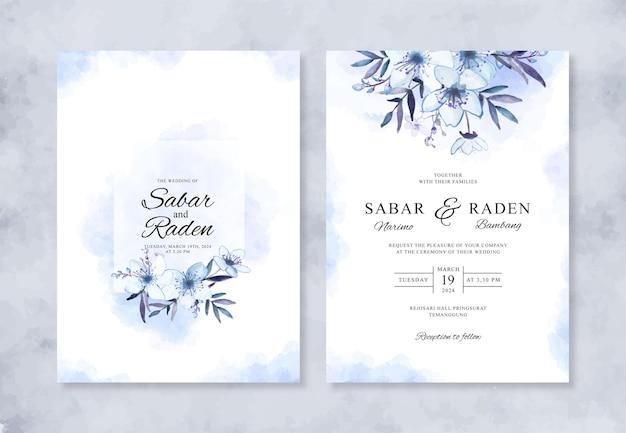 Convite de casamento minimalista com aquarela floral pintada à mão