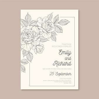 Convite de casamento minimalista com elementos desenhados