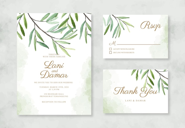 Convite de casamento minimalista com folhagem em aquarela