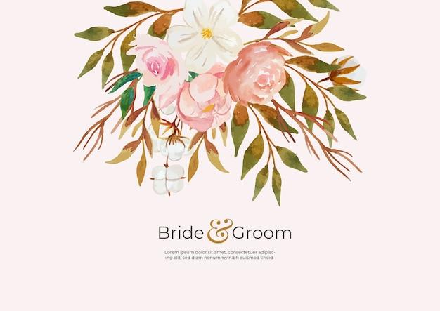Convite de casamento minimalista com fundo de flor em aquarela