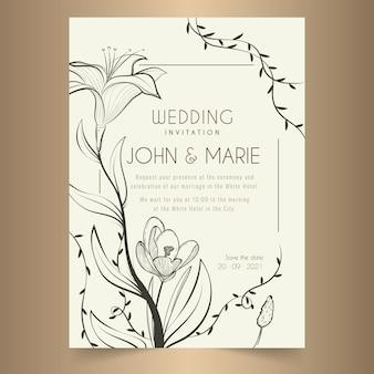 Convite de casamento minimalista desenhado à mão