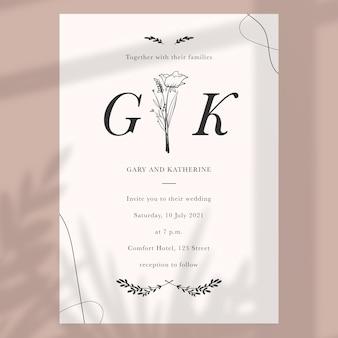 Convite de casamento minimalista desenhado à mão Vetor grátis
