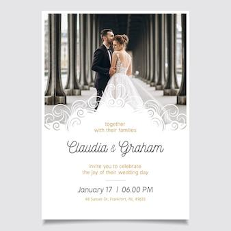 Convite de casamento modelo com foto