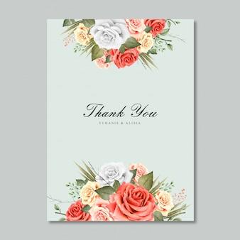 Convite de casamento modelo em branco com aquarela design floral