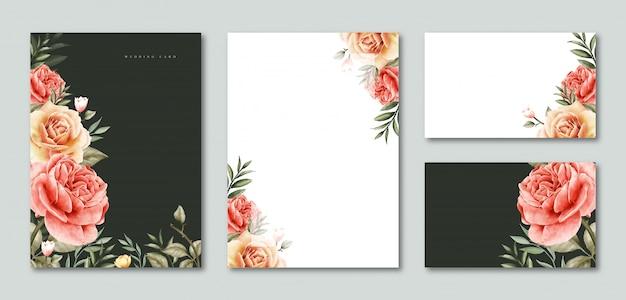 Convite de casamento modelo em branco e cartão aquarela floral