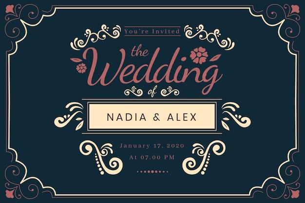 Convite de casamento modelo vintage